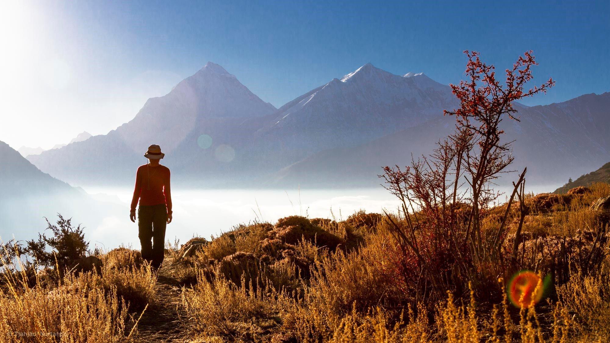 Nurtantio_5Pässe_Lager Kaisang Kharka 3500 m mit Dhaulagiri und Tukche Peak
